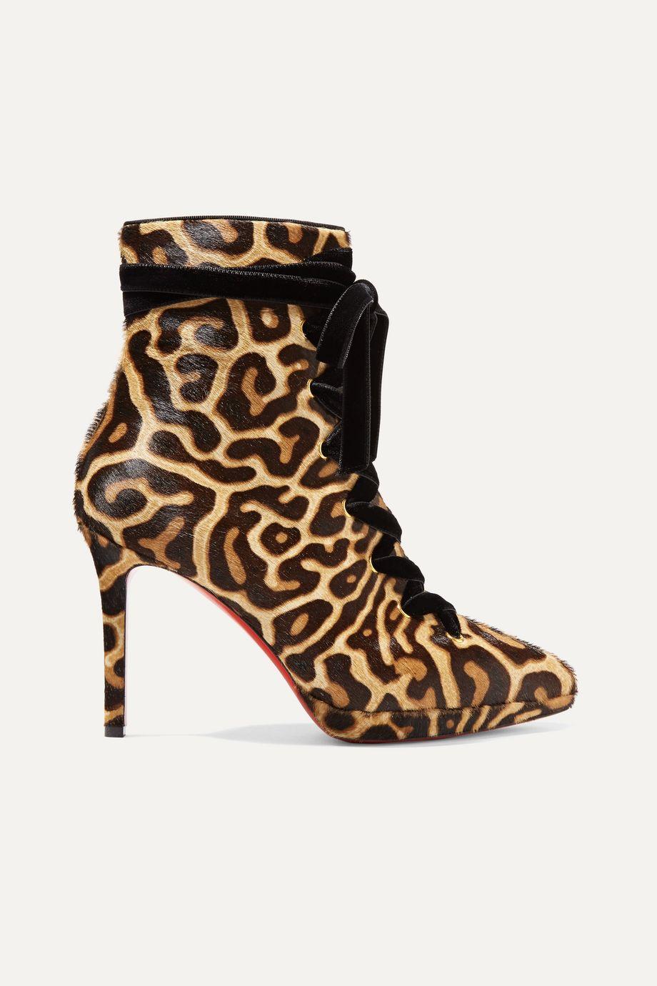 Christian Louboutin Circus Nana 100 lace-up leopard-print calf hair platform ankle boots