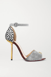 Christian Louboutin Notte Bella 100 glittered leather, jacquard and calf hair sandals