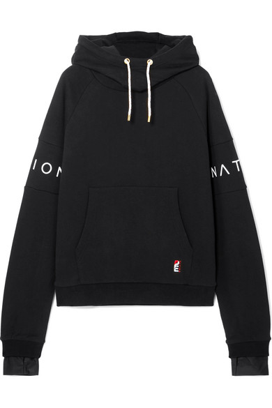 P.E NATION THE FAST FORWARD DEFENDER PRINTED COTTON-JERSEY HOODIE