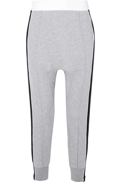 P.E NATION THE MASTER RUN STRIPED COTTON-TERRY TRACK PANTS