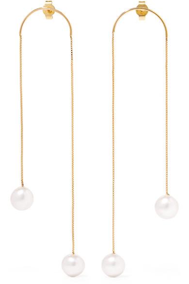 SASKIA DIEZ Dancing No2 Gold-Plated Pearl Earrings