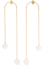 Dancing No2 gold-plated pearl earrings