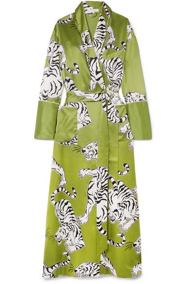 Olivia von Halle - Capability Rola Printed Silk Robe - Green