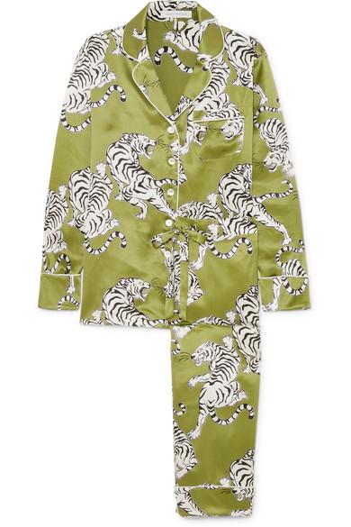 Olivia von Halle - Lila Printed Silk-satin Pajama Set - Green