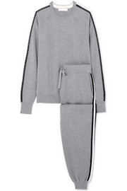 Missy London striped silk and cashmere-blend sweatshirt and track pants set
