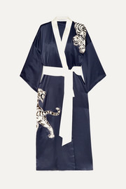 Queenie embroidered silk robe