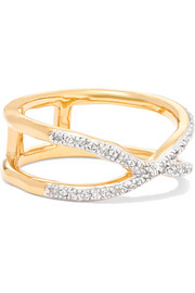 Riva Wave Cross gold vermeil diamond ring