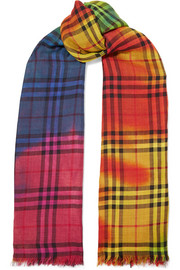 Burberry Tie-dyed checked wool and silk-blend gauze scarf