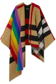 Burberry Checked wool and cashmere-blend poncho