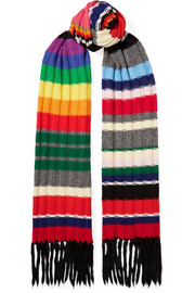 Fringed striped ribbed cashmere-blend scarf