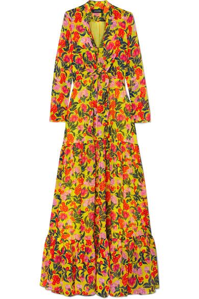 SALONI Alexia Tiered Floral-Print Silk-Chiffon Maxi Dress in Yellow
