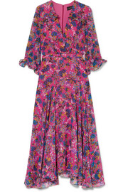 Edith ruffled floral-print silk-chiffon midi dress