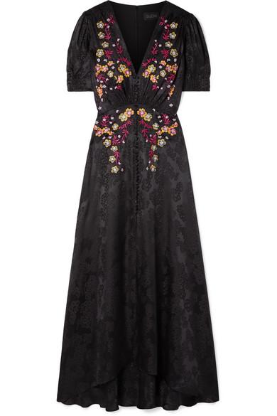 SALONI Lea Embroidered Silk-Satin Jacquard Maxi Dress in Black