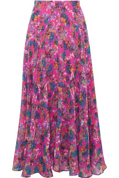 Ida-B Floral-Print Silk-Chiffon Midi Skirt, Bright Pink