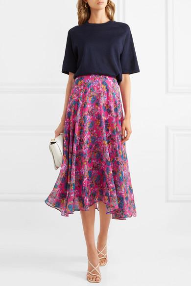 Ida B Floral Print Silk Chiffon Midi Skirt by Saloni