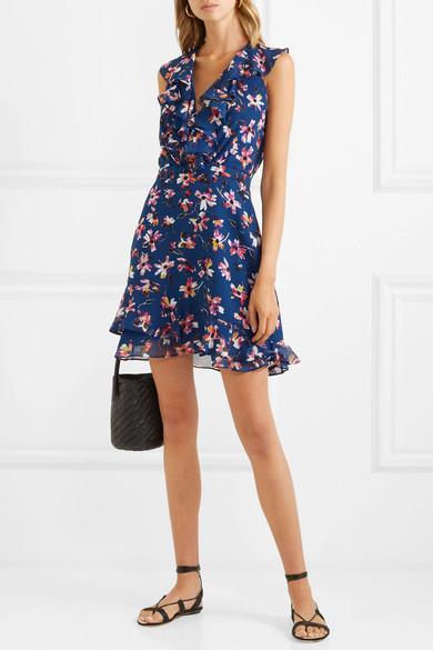 Cece Ruffled Floral Print Silk Chiffon Mini Dress by Saloni