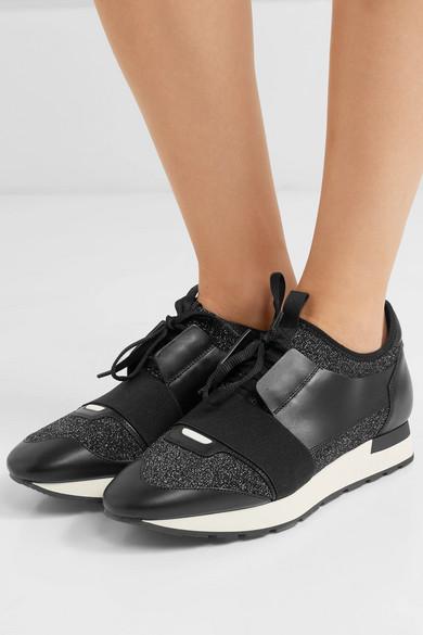 Balenciaga | Race Runner und Sneakers aus Stretch-Strick in Metallic-Optik und Runner Leder f4c3ff