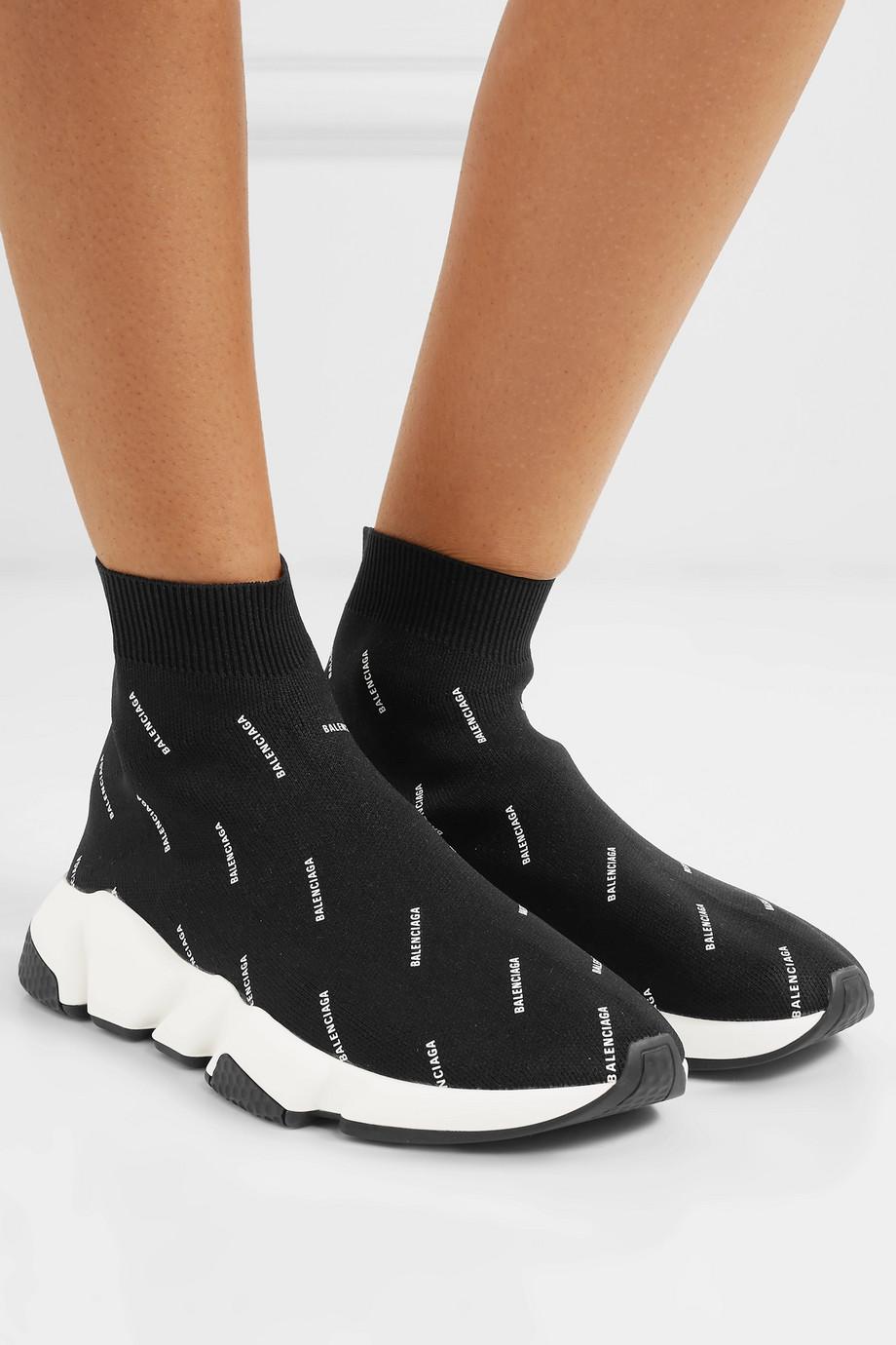 Balenciaga Speed 品牌标志印花弹力针织高帮运动鞋