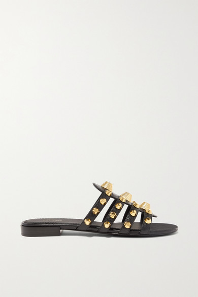 Balenciaga Slippers Giant studded glossed textured-leather slides