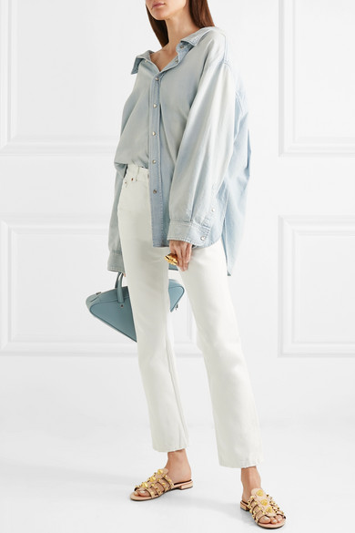 Balenciaga strukturiertem | Giant Pantoletten aus strukturiertem Balenciaga Leder mit Nieten 32bac4
