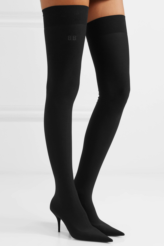 Balenciaga Knife stretch-knit thigh boots