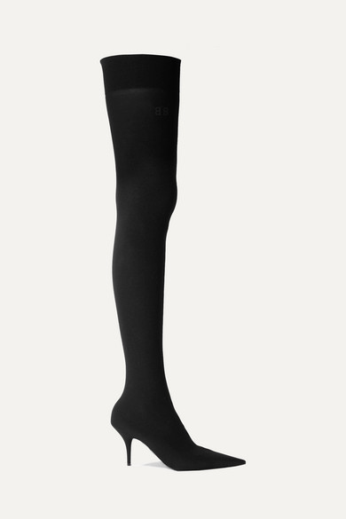 Knife Stretch-Knit Thigh Boots in 1000 Black