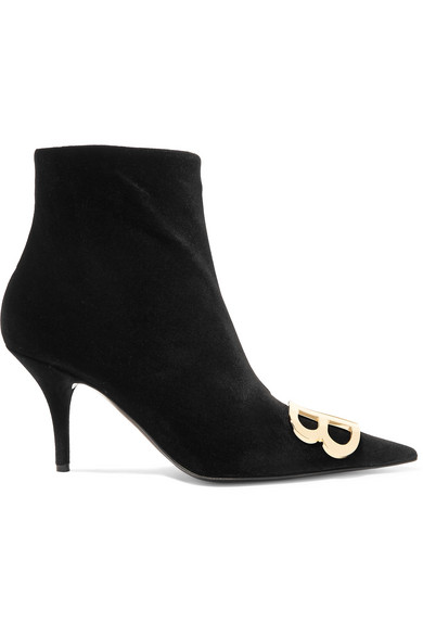 Ladies Black Bb Embellished Velvet Ankle Boots