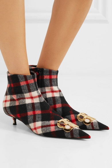 Knife Logo-embellished Tartan Wool Ankle Boots - Red Balenciaga orMiha4v8A