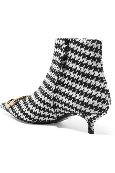 Logo-embellished Houndstooth Tweed Ankle Boots - Black Balenciaga z8R1I4