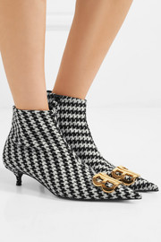 Balenciaga Logo-embellished houndstooth tweed ankle boots