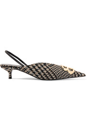 Balenciaga Logo-embellished Prince of Wales tweed slingback pumps