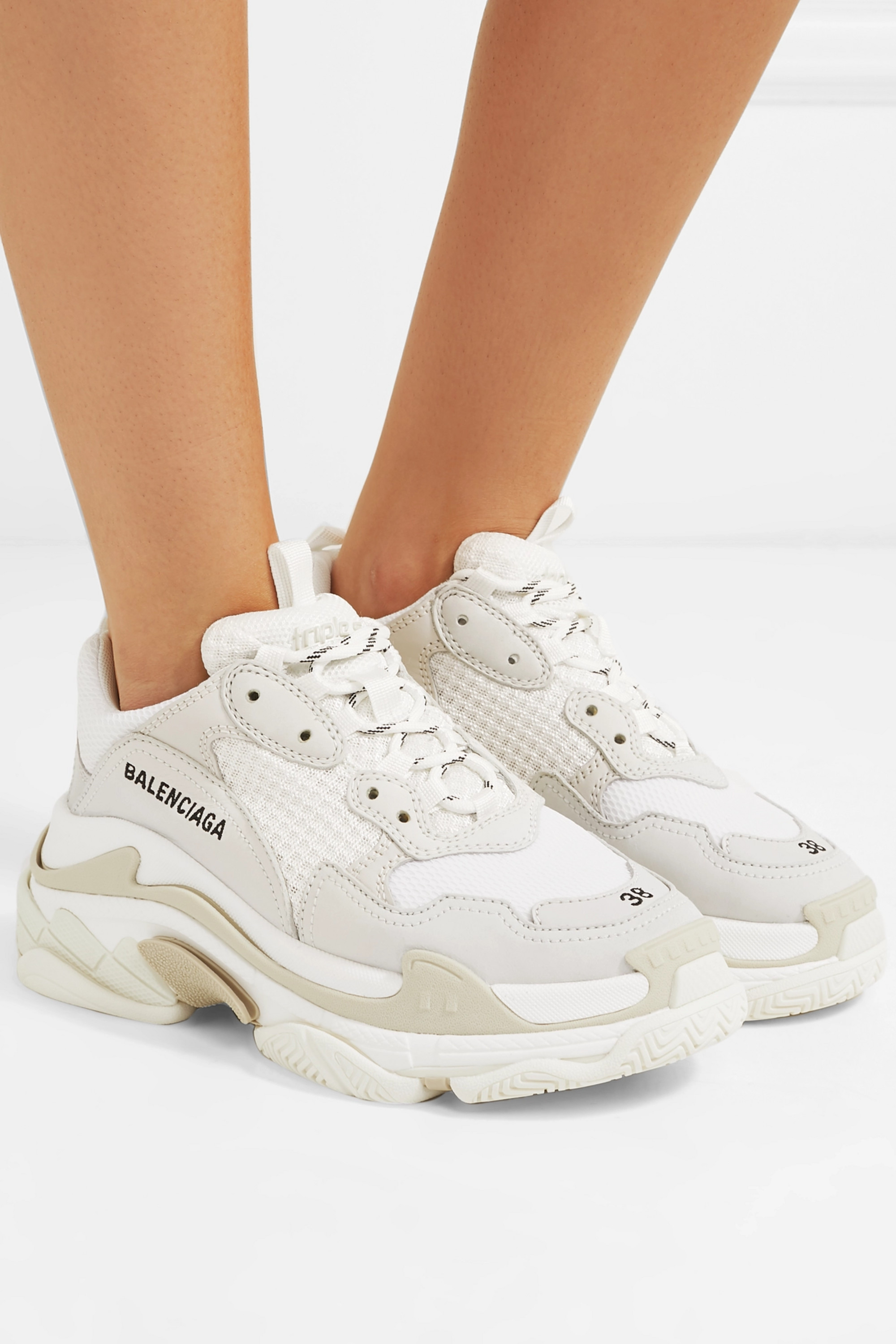 White Triple S suede, leather and mesh