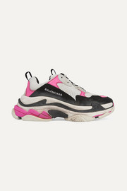 Triple S mesh and nubuck sneakers