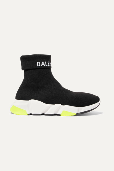 Speed Logo Intarsia Stretch Knit High Top Sneakers by Balenciaga