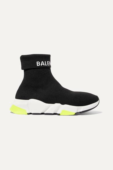 Balenciaga Speed Logo-Intarsia Stretch-Knit High-Top Sneakers In Black