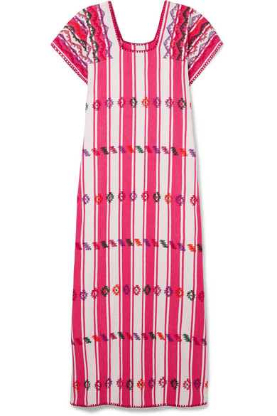 PIPPA HOLT Embroidered Striped Cotton Kaftan in Pink