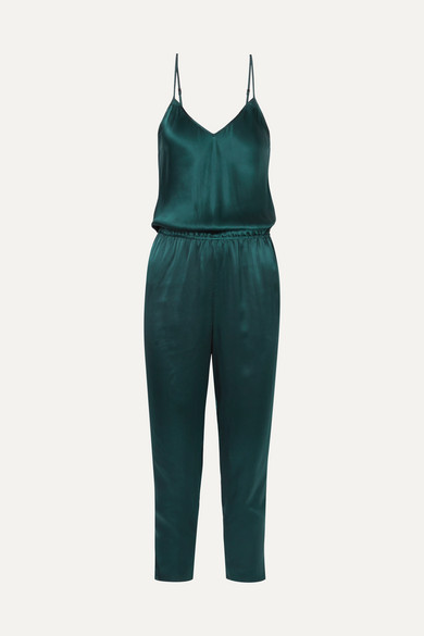 Mes Demoiselles - Almond Silk-satin Jumpsuit - Forest green