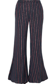 Emmanuel Lyrical metallic striped cotton-blend flared pants