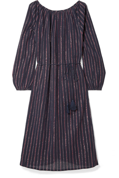 MES DEMOISELLES ESMERALDA LYRICAL STRIPED METALLIC COTTON-BLEND DRESS