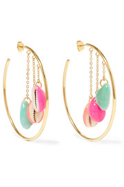 Aurélie Bidermann Gold-plated, shell and enamel hoop earrings