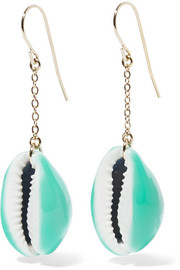 Aurélie Bidermann Gold-plated, shell and enamel earrings