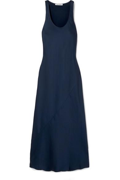 ELIZABETH AND JAMES Malta Long Scoop-Neck Sleeveless Satin Slip Dress in Navy
