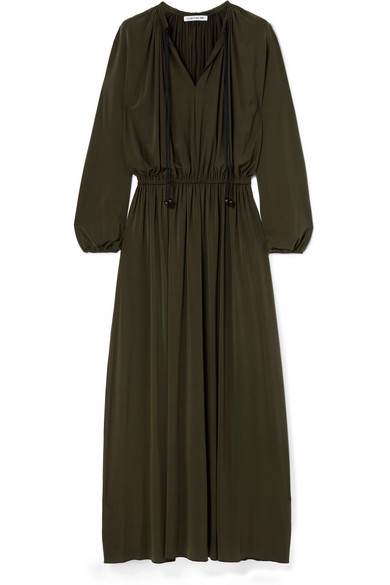 Luna Gathered Stretch-Jersey Maxi Dress, Combat