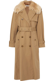 Stratford shearling-trimmed cotton-blend twill trench coat