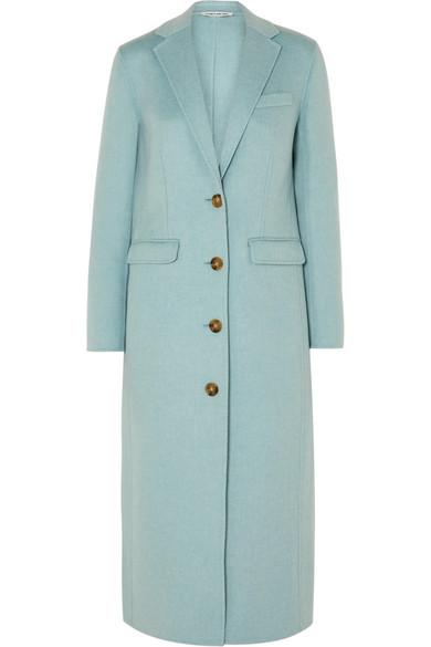 Russel Long Wool Pea Coat in Sky Blue