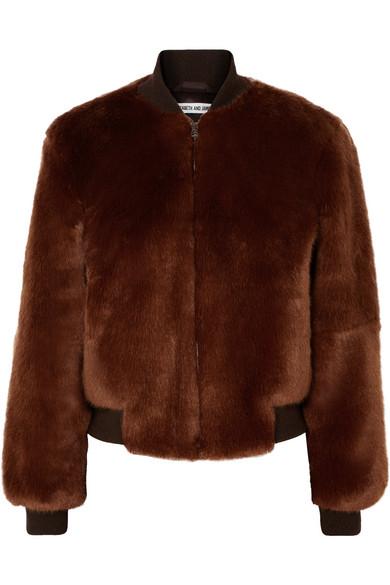 ELIZABETH AND JAMES Ellington Knit-Trimmed Faux Fur Bomber Jacket in Brown