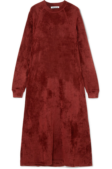 Lafayette Crushed-Velvet Midi Dress in Burgundy