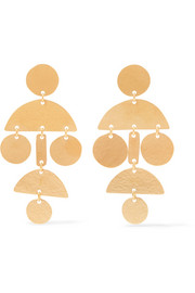 Mini Pompom gold-tone earrings