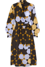 Micaela printed silk wrap dress