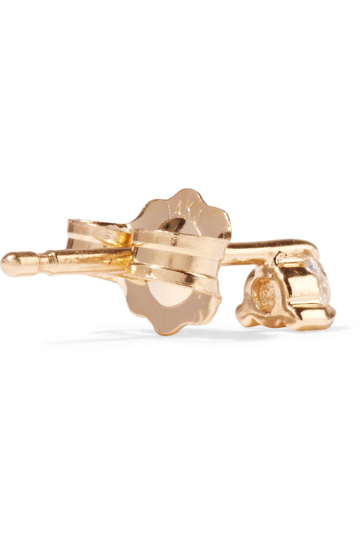 Catbird Sleeping Beauty gold diamond earrings